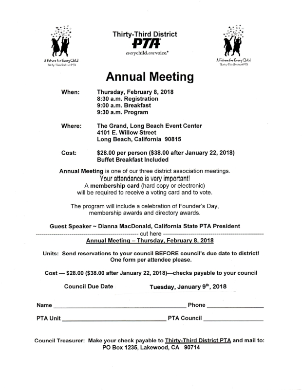 33rd District PTA Annual Meeting 2018